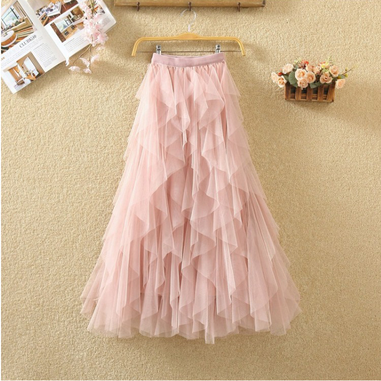 Women irregular Tulle Skirts Fashion Elastic High Waist Mesh Tutu Skirt Pleated Long Skirts Midi Skirt Saias Faldas Jupe Femmle 57