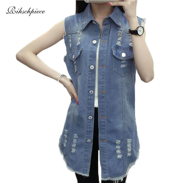 Long Denim Vest Women Plus Size 5XL Spring Sleeveless Jeans Vest Ripped Slim Jacket Waistcoat RZF025