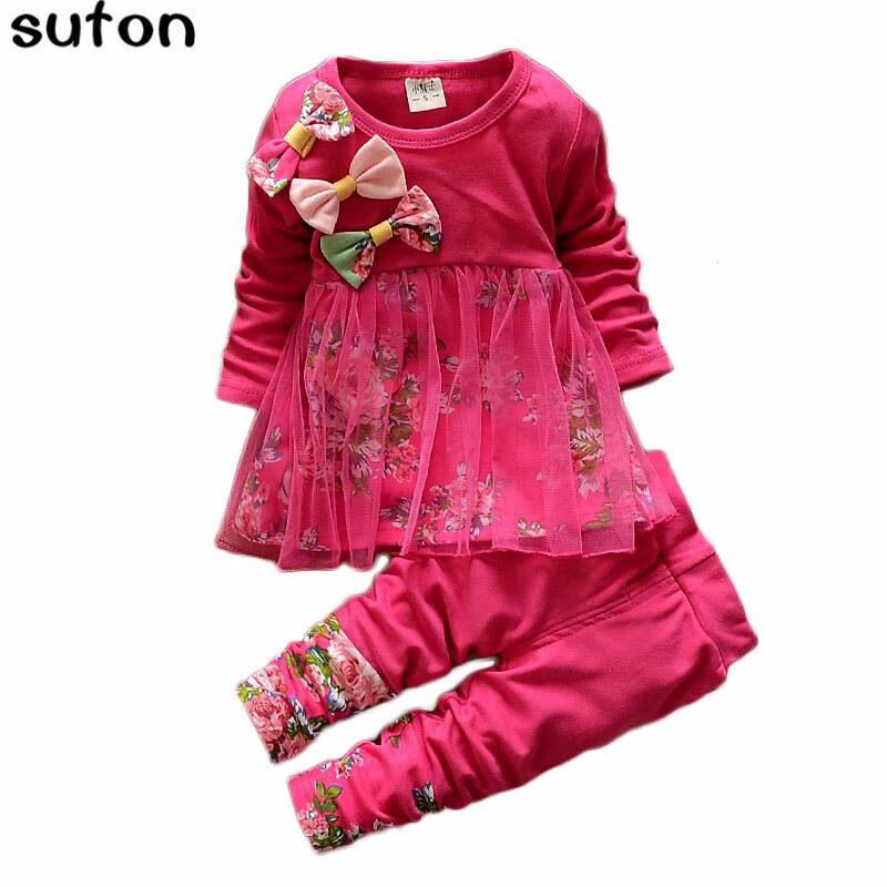 be63eaf1e 2018 Otoño Invierno Niñas Ropa traje de manga larga Floral gasa Top +  Leggings traje arco princesa Lovely Baby niñas Set 2-5Y