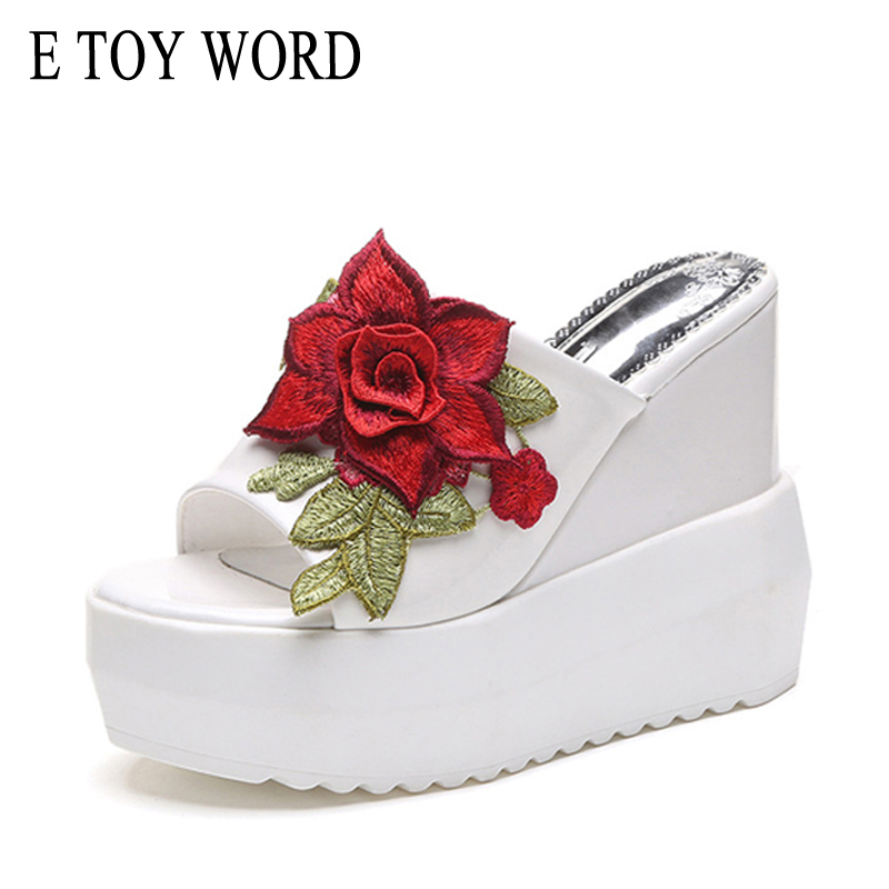 E TOY WORD Women Super High Wedges Slippers Embroidery Rose Sandals Euramerican fashion a Word slippers open toe 2018 summer go games super fun word search