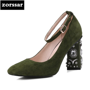 {Zorssar} 2018 New fashion Rhinestone womens shoes Pointed toe suede Ankle Strap High heels pumps summer ladies shoes big size