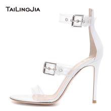 Sexy Open Toe High Heel Clear Sandals with Straps Womens Heeled Transparent Shoes PVC Stiletto Heels Ladies Summer 2019