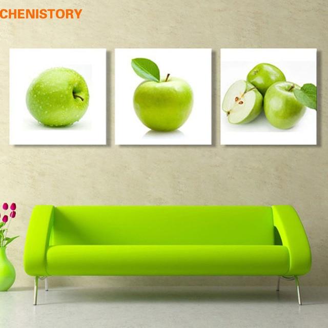 Unframed 3 unids manzana verde cocina moderna decoración para el ...