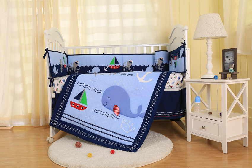 7PCS Ocean animal embroidery Crib Bedding and Cot Set,Baby Bedding Sets(4bumper+bed cover+bed skirt+duvet)7PCS Ocean animal embroidery Crib Bedding and Cot Set,Baby Bedding Sets(4bumper+bed cover+bed skirt+duvet)