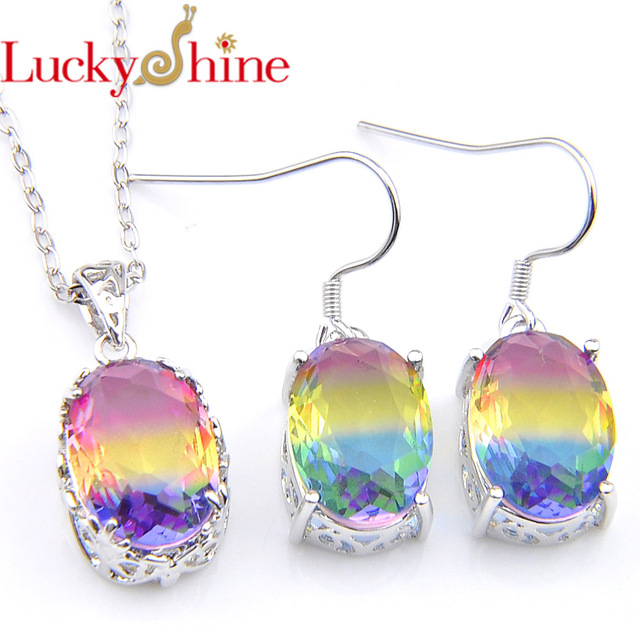 44e25f87d Luckyshine Fashion European Style Hot Sell Rainbow Tourmaline Crystal Unique  Silver Earring & Pendant Dangle Jewelry Sets