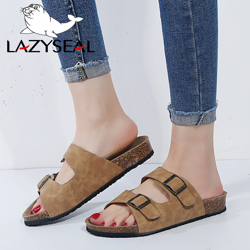 LazySeal Summer Style Shoes Woman And Men Sandals Shoes Cork Slippers Sandals Flip Flop Beach Slippers Flats Heels Large Size 44