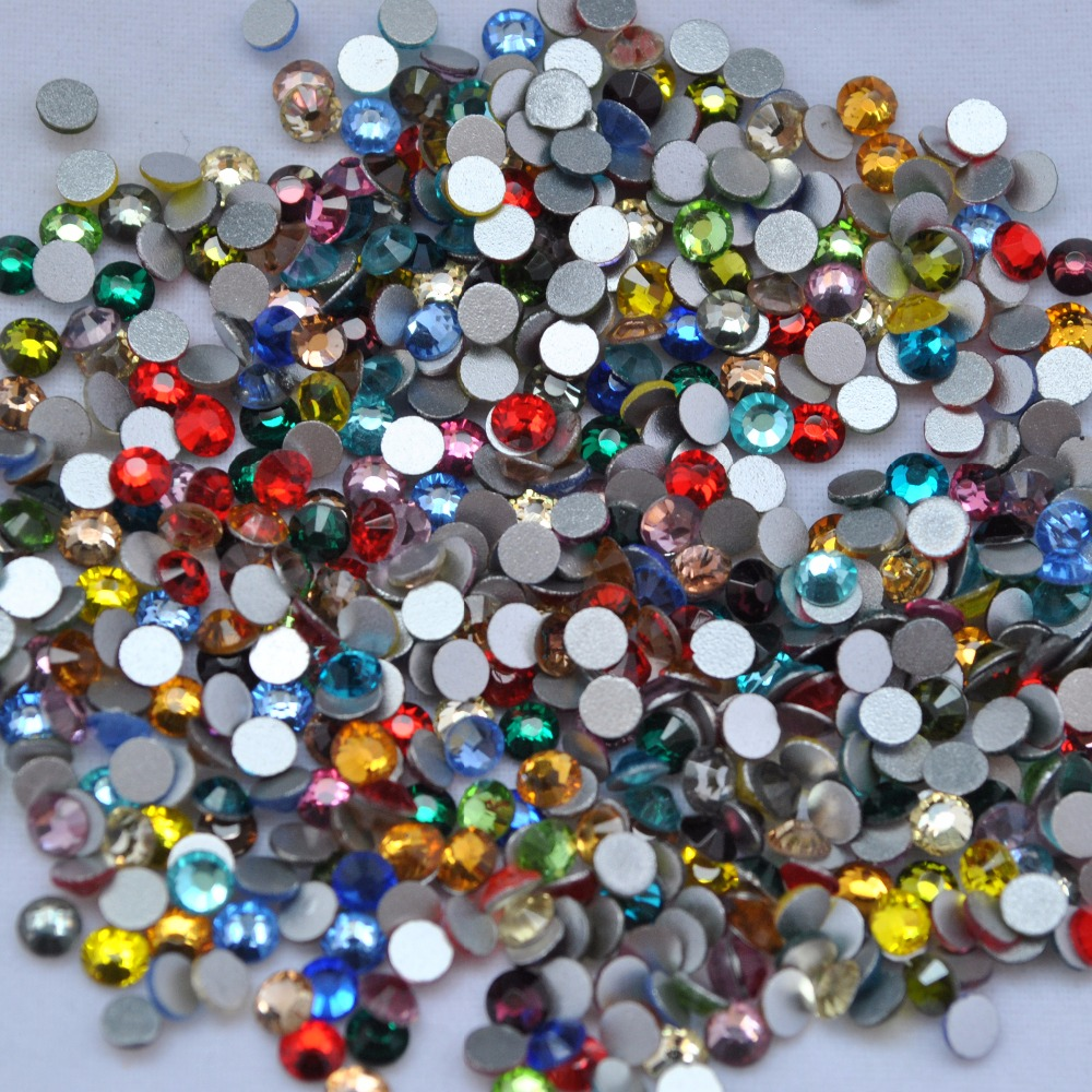 Купить с кэшбэком 1440 pcs /pack SS3 (1.3mm) crystal Multicolor Non Hotfix 3D Nail Art stones Flat back Rhinestones glass nail art decorations