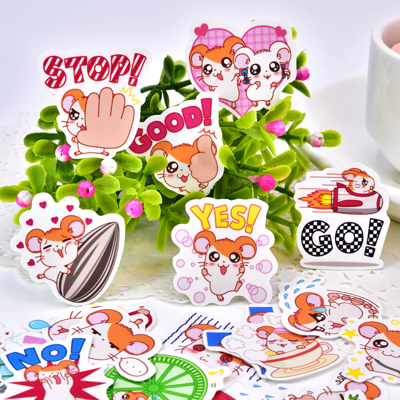 40pcs Kawaii Cute Self-made Hamster Stickers /Decorative Sticker /animal Hamtaro Scrapbooking  DIY Craft Photo Albums/Waterproof