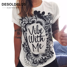 2019 New Summer Vibe With Me Print Punk Rock Graphic Tees White Designer 3D T shirt Clothing Women European Fashion T-shirt white t shirt with banana print