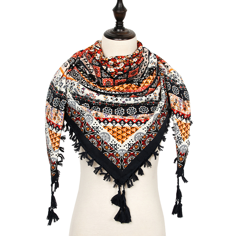 New Fashion Warm Winter   Scarf   Women Square   Scarves   Female   Wraps   Autumn Ethnic Style Tassel   Scarf   Girls Shawl Blanket   Scarf