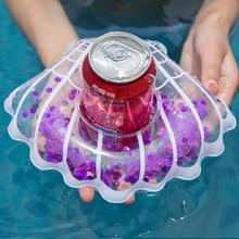 c1395491 Pequeño Shell taza de asiento con brillos flotante inflable titular de la bebida  piscina baño Beach Party niños nadar Beverage H..