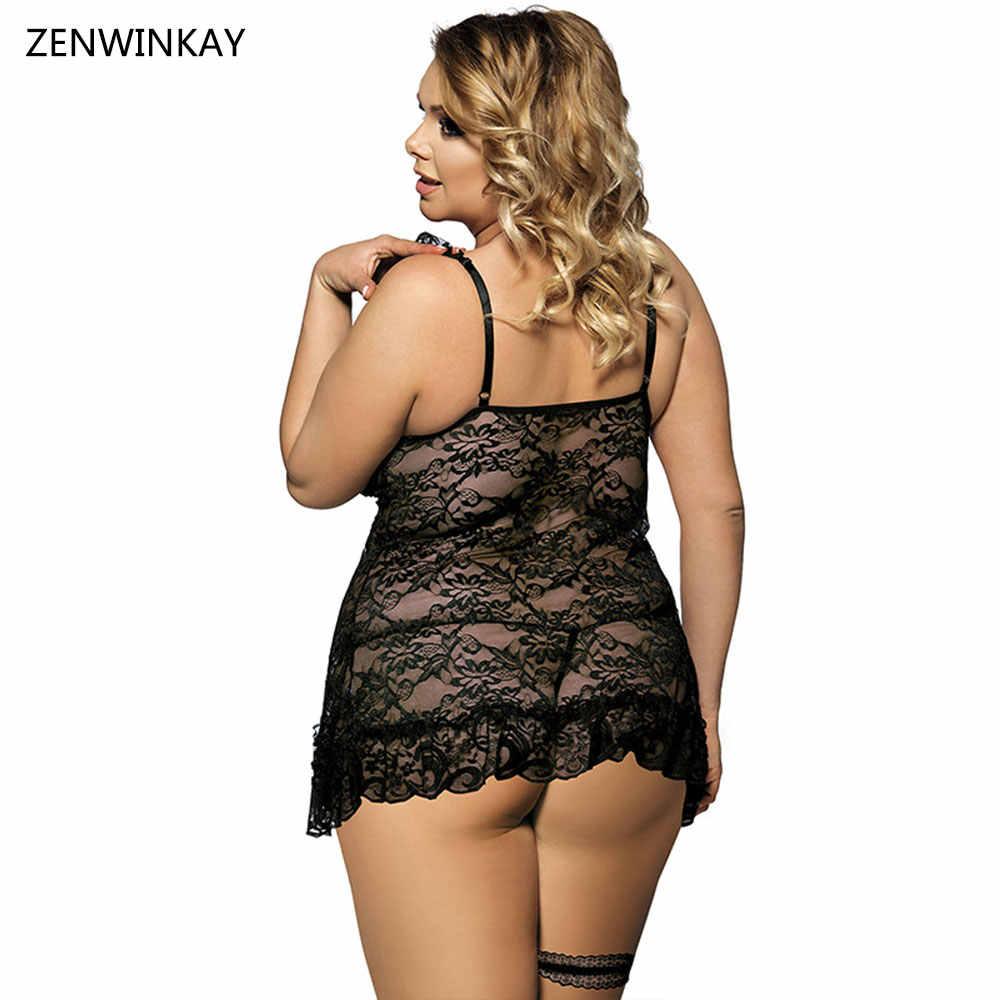 e7949dcc0e99 Ropa de noche Negra para mujer Sexy Babydolls lencería Sexy disfraces porno  Erotica Lengerie ropa sexual talla grande XL XXL XXXL 4XL 5XL 6XL