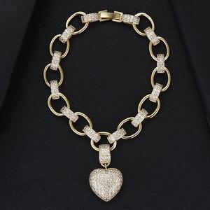 Image 5 - GODKI Lüks Kalp Link Zinciri Bilezikler Bilezik Kübik Zirkon CZ Vintage Bohemian Manşet Bilezikler Kadınlar Için Femme moda takı