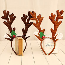 Christmas big antlers head hoop Christmas decorations gifts buckle adult children's Christmas party supplies hair band(China)