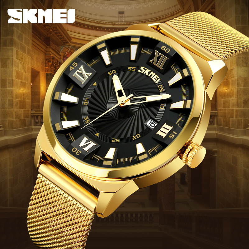 SKMEI Mens Watches Top Brand Luxury Gold Fashion Business Quartz Watch Stainless Steel Male Watches Clock Men Relogio Masculino rosra fashion gold watches men stainless steel business quartz watch orologio uomo hour clock montre homme relogio masculino