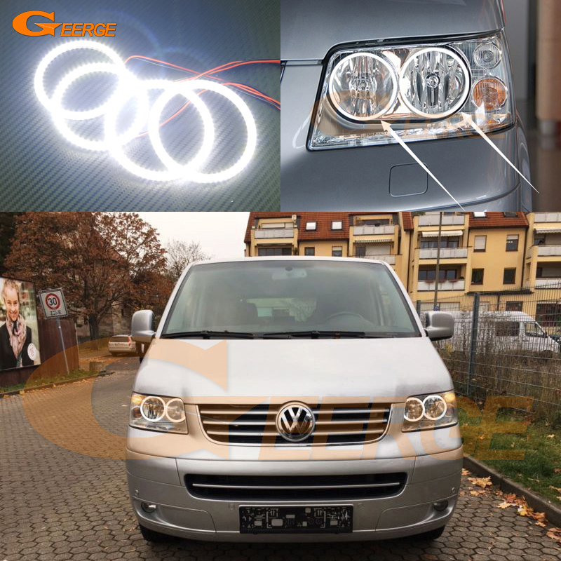 For Volkswagen VW Transporter Caravelle T5 2003-2009 Excellent Ultra bright illumination smd led Angel Eyes Halo Ring kit
