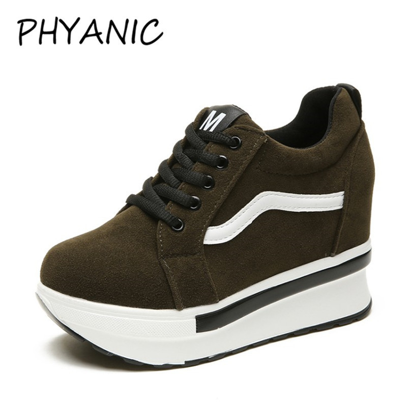 PHYANIC Women's Vulcanize Wedge Sneakers Platform Black Women Casual Shoes Woman Sneakers Platform High Top Female Shoes PHY3201 de la chance women vulcanize shoes platform breathable canvas shoes woman wedge sneakers casual fashion candy color students