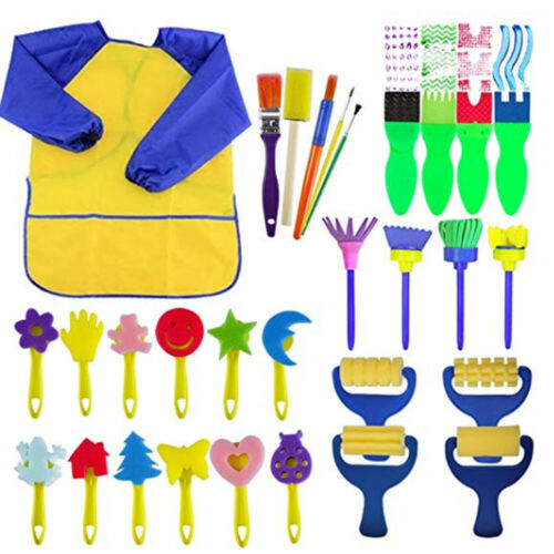 31PCs Kids Paint Brushes Sponge Painting Brush Tool Set For Children Toddler Toy