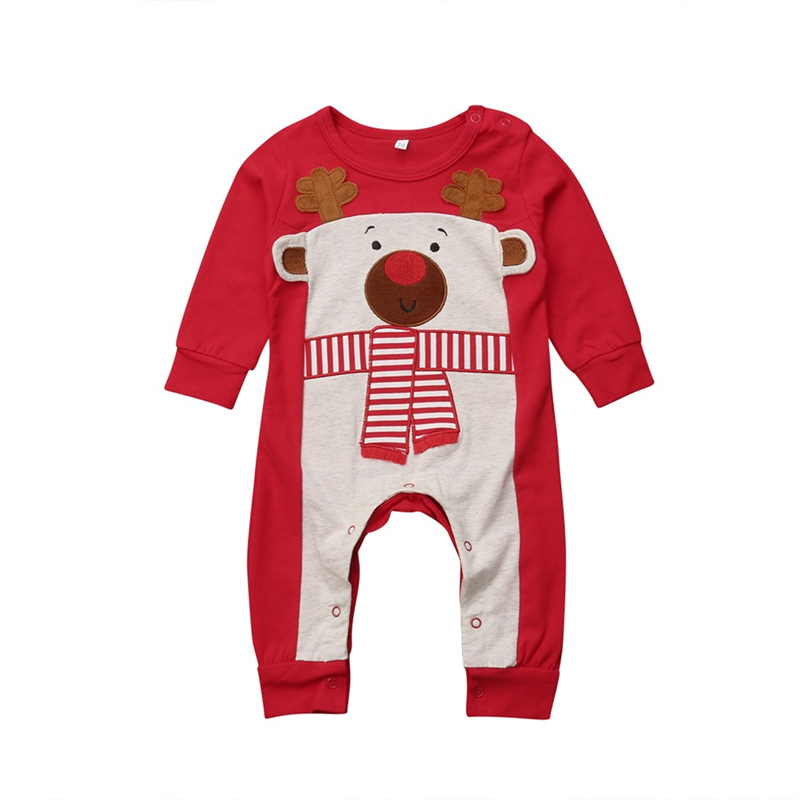 Christmas Baby Girl Boy Romper Newborn Infant Toddler Kid Long Sleeve Deer Cotton Jumpsuit Outfit Pajama Clothes cotton newborn infant kids baby boy girl clothing romper long sleeve cotton jumpsuit flower clothes outfit