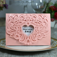 10cs Laser Cut Wedding Invitation Card Kit with Inner Sheet Envelope Wedding Card Engagement Party Decor