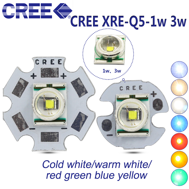 Freeshipping! 10PCS <font><b>CREE</b></font> XRE xre Q5 <font><b>3W</b></font> <font><b>LED</b></font> Emitter chip light Cool White Warm Red green blue <font><b>LED</b></font> with 20mm 16mm 14mm 12mm pcb image