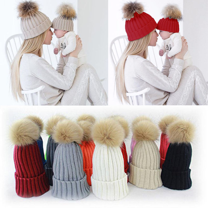 1 Pcs Mother Child Baby Family Match Warm Winter Knit Beanie Fur Pom Hat Crochet Ski Cap Hat hot winter beanie knit crochet ski hat plicate baggy oversized slouch unisex cap