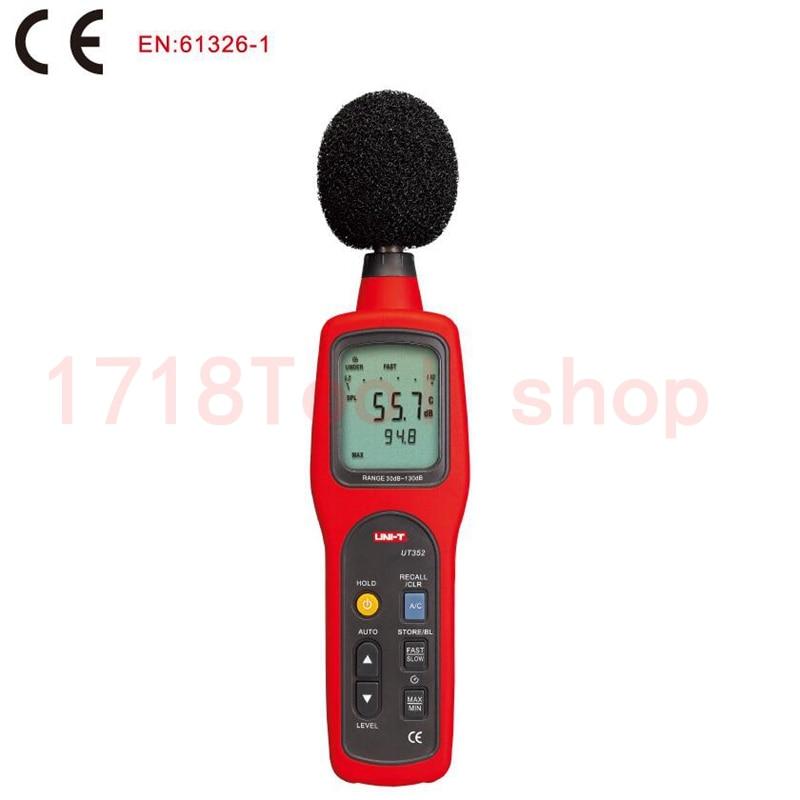 UNI-T UT352 Digital Sound Level Meter USB Noise Tester meter 30~130dB MAX/MIN LCD Backlight High Alarm Data Logging uyigao ua824 digital decibel sound level meter noise meter tester with max min hold 30dba 130dba range measurement