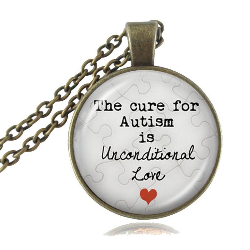 US $10 19 15% OFF|Autism Pendant Necklace The Cure for Autism is  Unconditional Love Puzzle Piece Charm Autism Quote Jewelry Glass Cabochon  Pendant-in