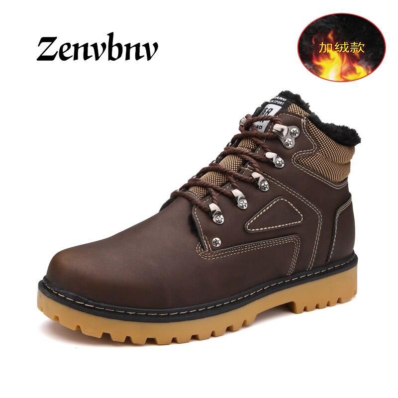 Zenvbnv 2017 ботинки из натуральной кожи Мужские зимние сапоги Наивысшее качество западные ковбойские ботинки износостойкие Предметы безопасно…