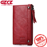 GZCZ Genuine Leather Women Wallet Female Large Capacity Fashion Woman Vallet Portomonee Long Zipper Design Purse