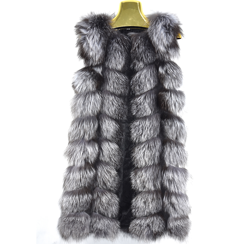 2018 Cuir herbe animal peau naturel renard gilet dame dans le longue section 90 CM gilet animal de fourrure de mode chaud épais épais belle