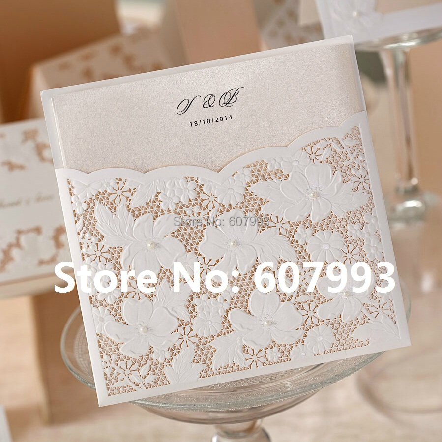Aliexpress Laser Cut Flower Lace Pocket Wedding Invitations Card Birthday Enement Invitation Cards Party Kits 100pcs From Reliable