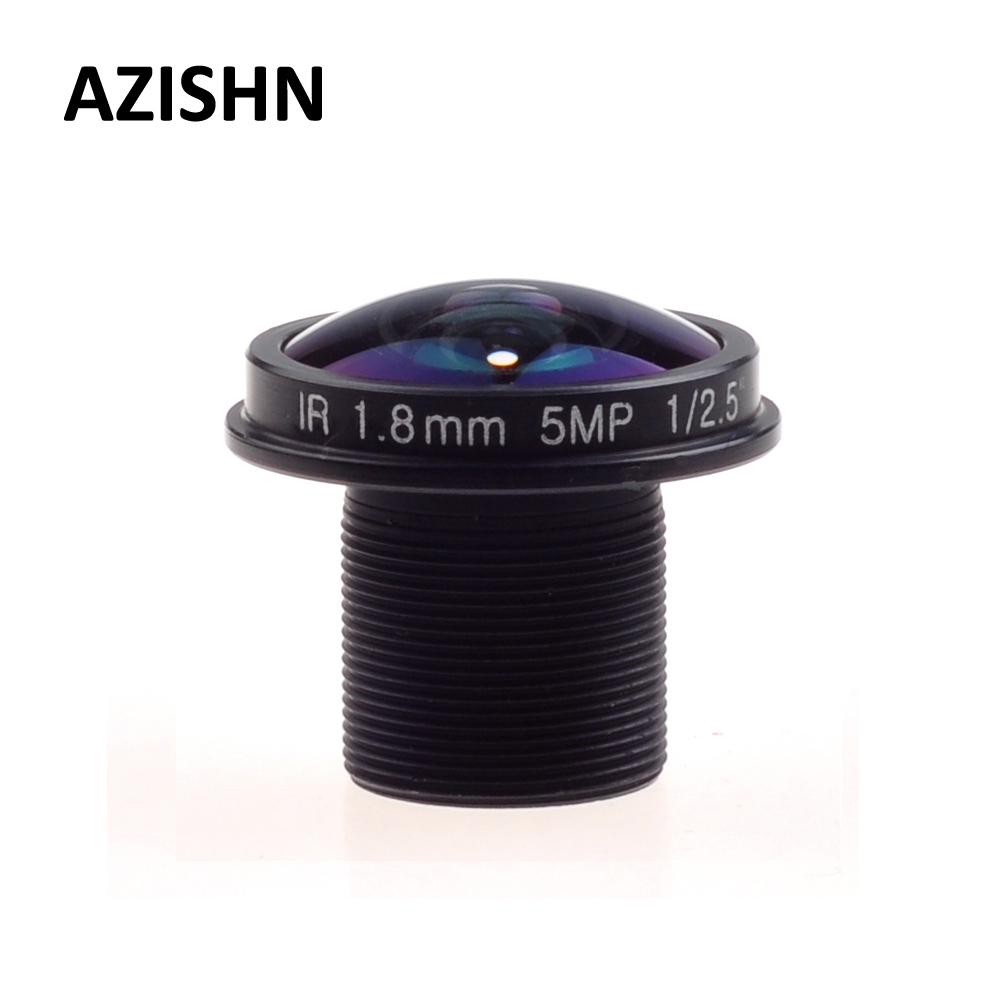 AZISHN Fisheye Lens CCTV Lens 5MP 1.8mm M12 180 Degree Wide Viewing Angle F2.0 1/2.5