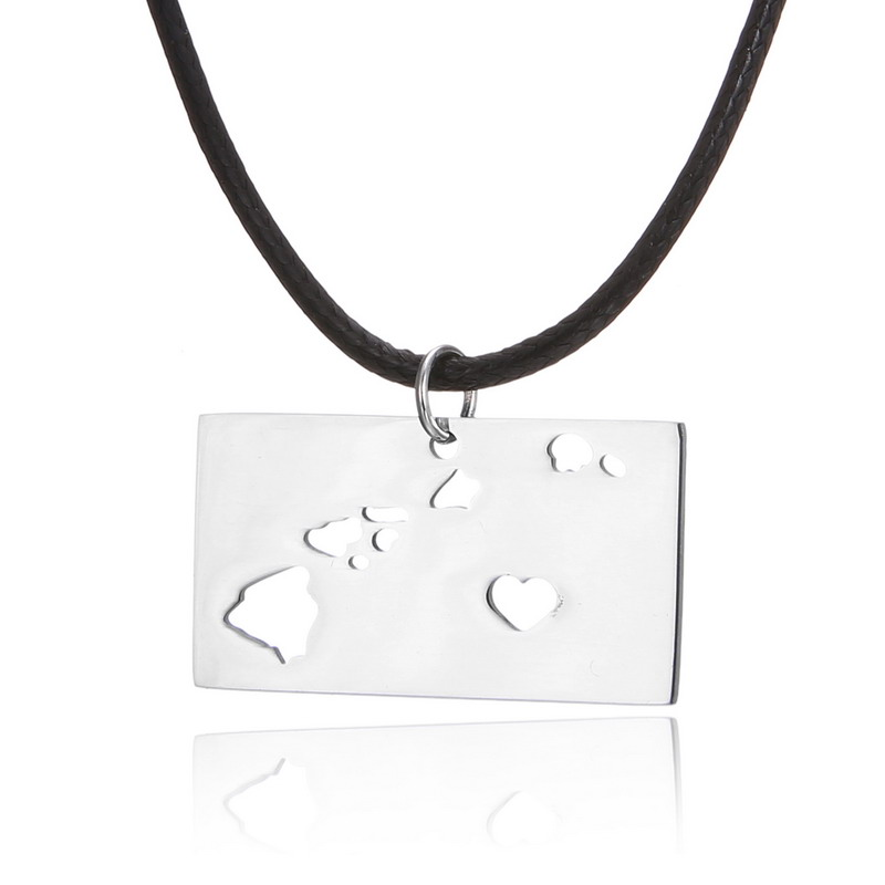 American Map Symbol Necklace Pendant Accessories Stainless Steel Jewelry Hawaii State Charm Us Map Series Necklaces