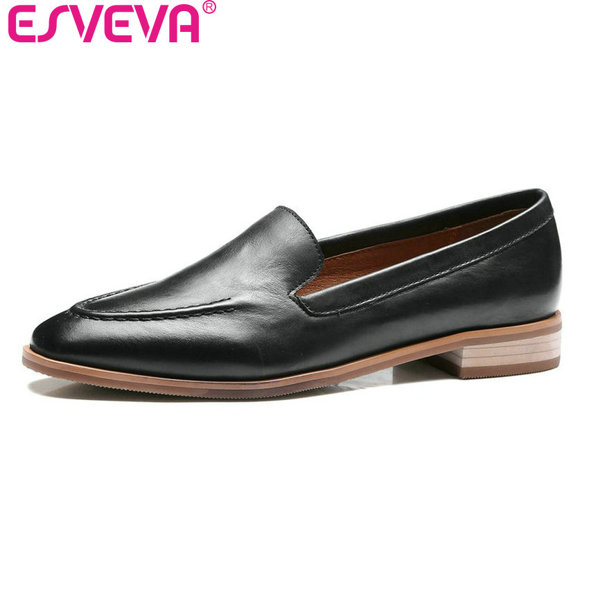 ESVEVA 2017 Low Heel Woman Pumps Slip on New Spring Autumn Women Shoes Real Leather Concise Square Heel Casual Shoes Size 34-39 esveva 2017 spring autumn british style real leather women pumps buckel square toe women shoes square low heel pumps size 34 39