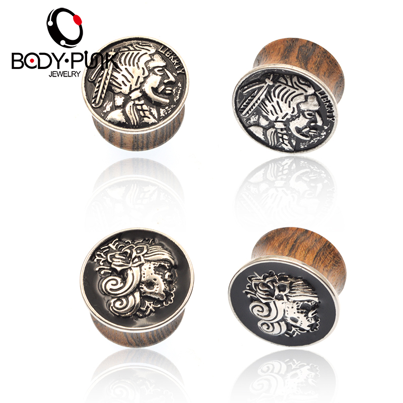 BODY PUNK Burning Silver 3D Man / Woman Wood Plugs Double Flared Ear Tunnels Classic Expanders Stretcher Body Piercing Jewelry