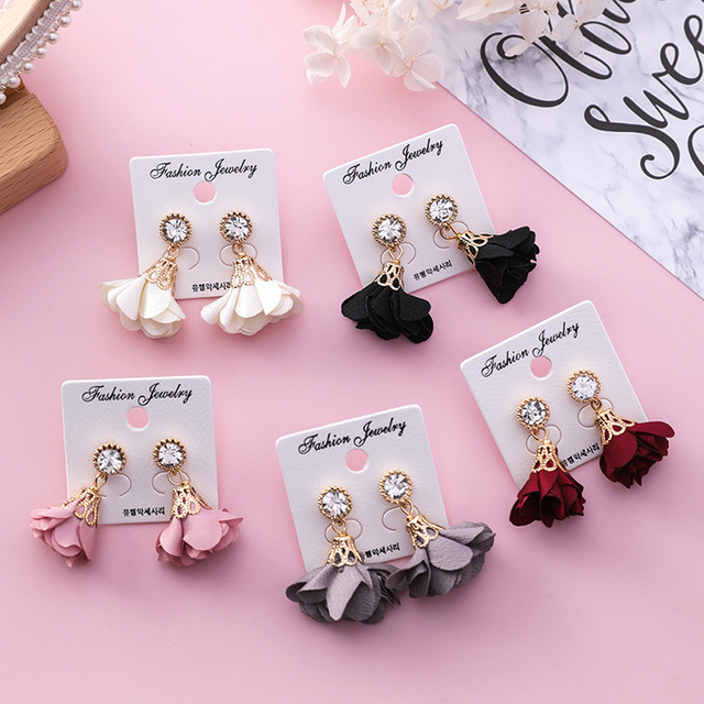 MENGJIQIAO 2018 Korean New Shiny Crystal Cloth Flower Drop Pendientes Mujer Moda Summer Accessories Cute Boucles D'oreilles  4