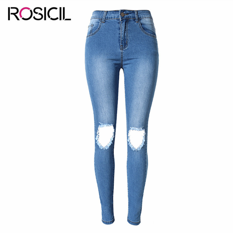 New Style Skinny Broken Hole Jeans Women High Waist Ripped Jeans For Women Stretch Denim Skinny Jeans Women Pencil Pants Femme stylish gradient color broken hole skinny jeans for women