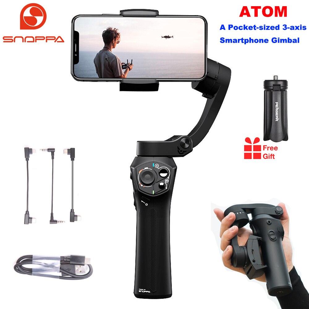 Snoppa Atom 3 osi składany kieszonkowy ręczny stabilizator gimbal dla iPhone Smartphone GoPro i ładowania bezprzewodowego PK gładka 4
