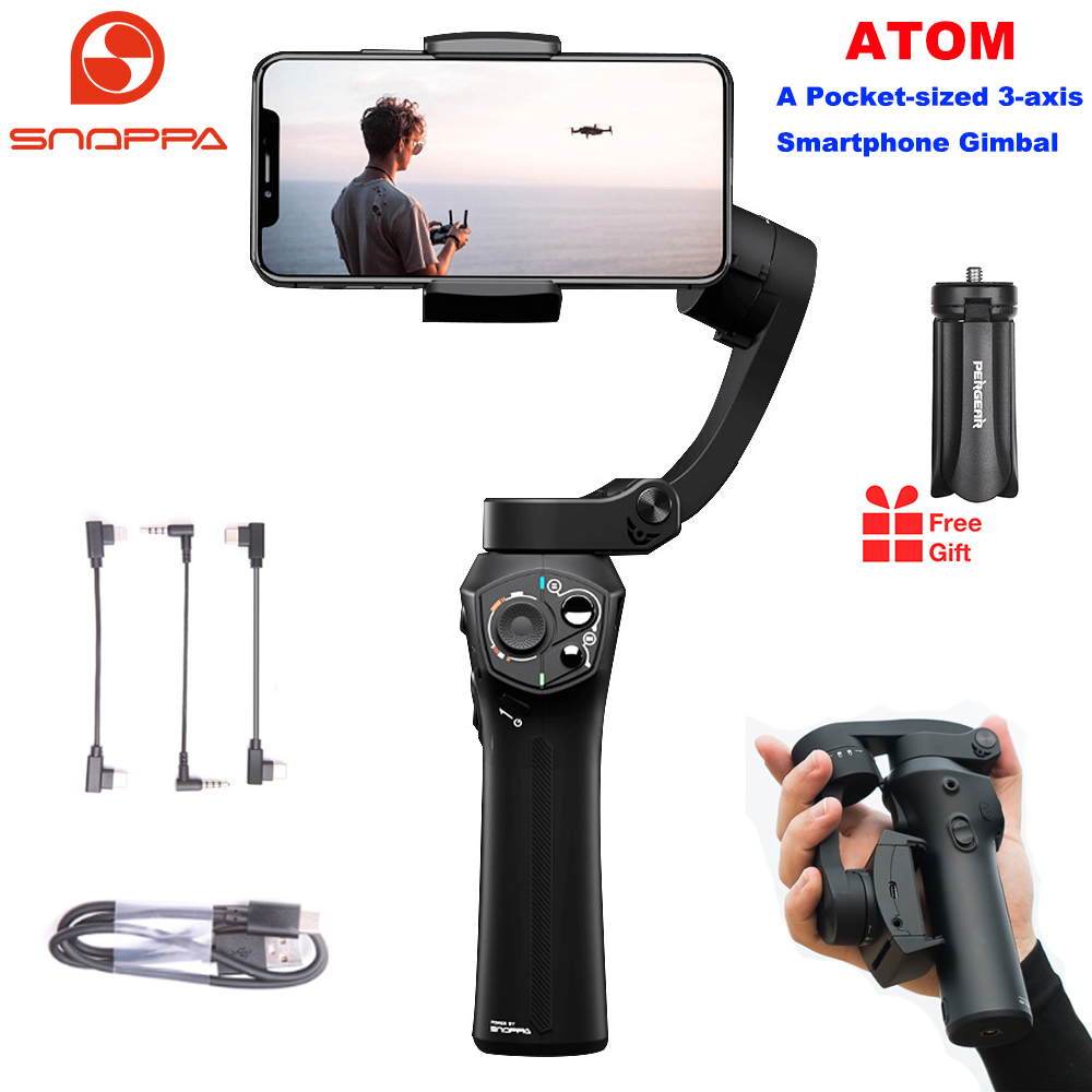 Snoppa atom 3-axis dobrável pocket-sized handheld cardan estabilizador para iphone smartphone gopro & carregamento sem fio pk liso 4