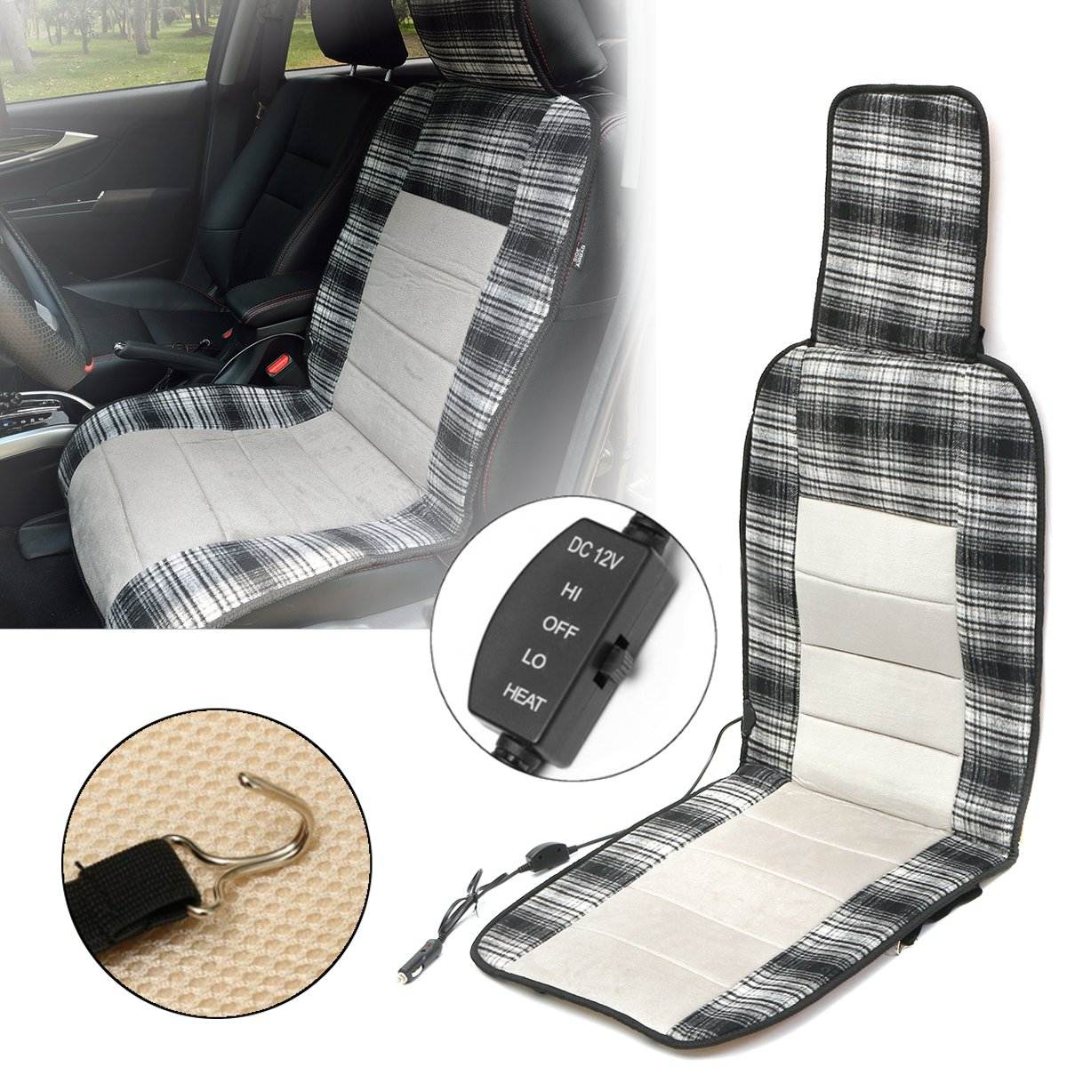 12V Car Heated Heating Pad Hot Front Seat Cushion Cover Winter Warmer Electric Universal Heated Seat Cover High/Low Switch 12v electric car heated seat cushion cover auto heating heater warmer pad winter car seat cover supplies hight quality
