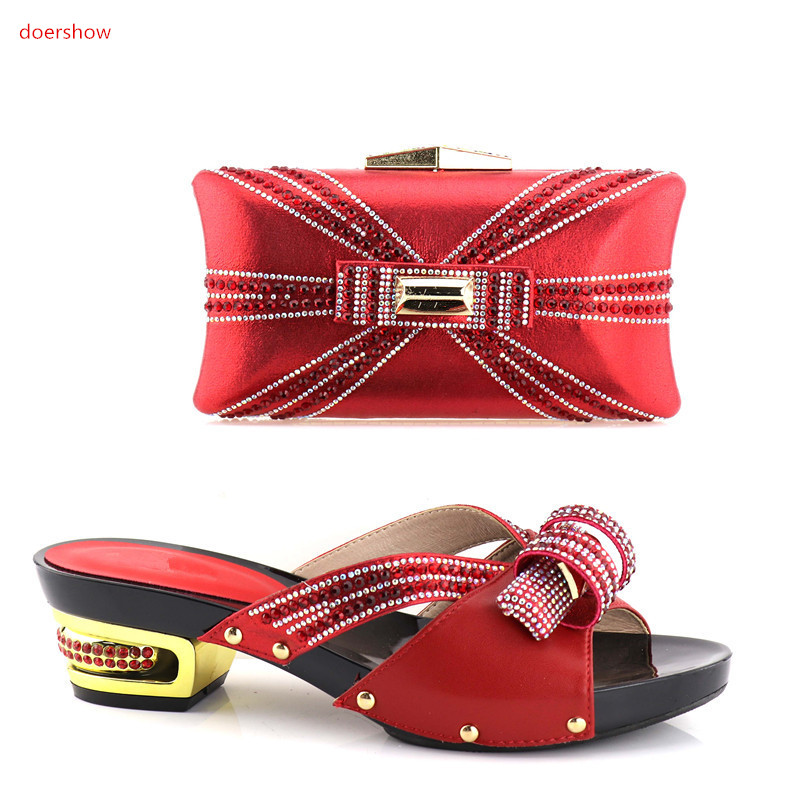 doershow  Nigerian Party Shoe and Bag Sets Italian Shoes and Bags Set for party African Matching Shoes and Bags!HV1-15 doershow african shoes and bags fashion italian matching shoes and bag set nigerian high heels for wedding dress puw1 19
