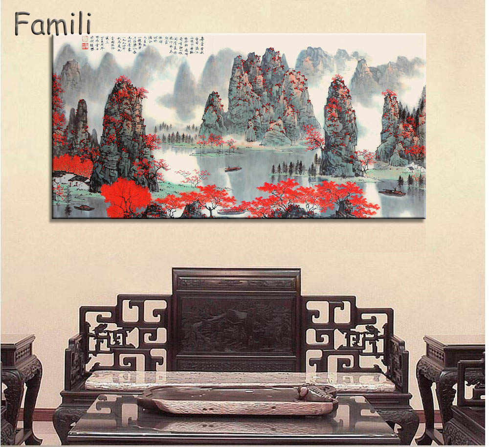 Chinese Style Canvas Painting Mountain and River Landscape Art Wall Pictures For Living Room HD Posters And Prints