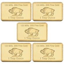 Goldbarren  United States of America USA copper Kupferkern Buffalo bar five