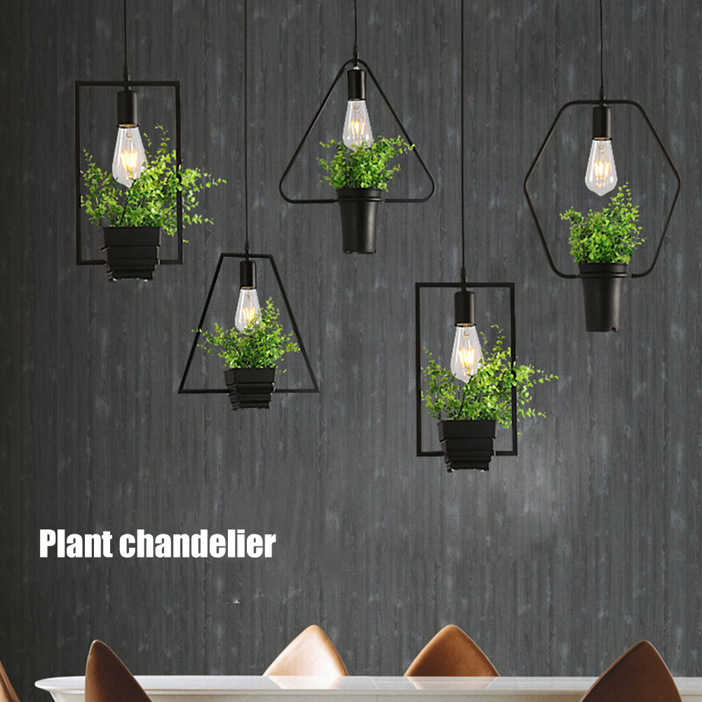 2019 Hot Simple Plant Iron Chandelier Iron Lamp Geometry Plants Lights For Pub Music Restaurant SKD88