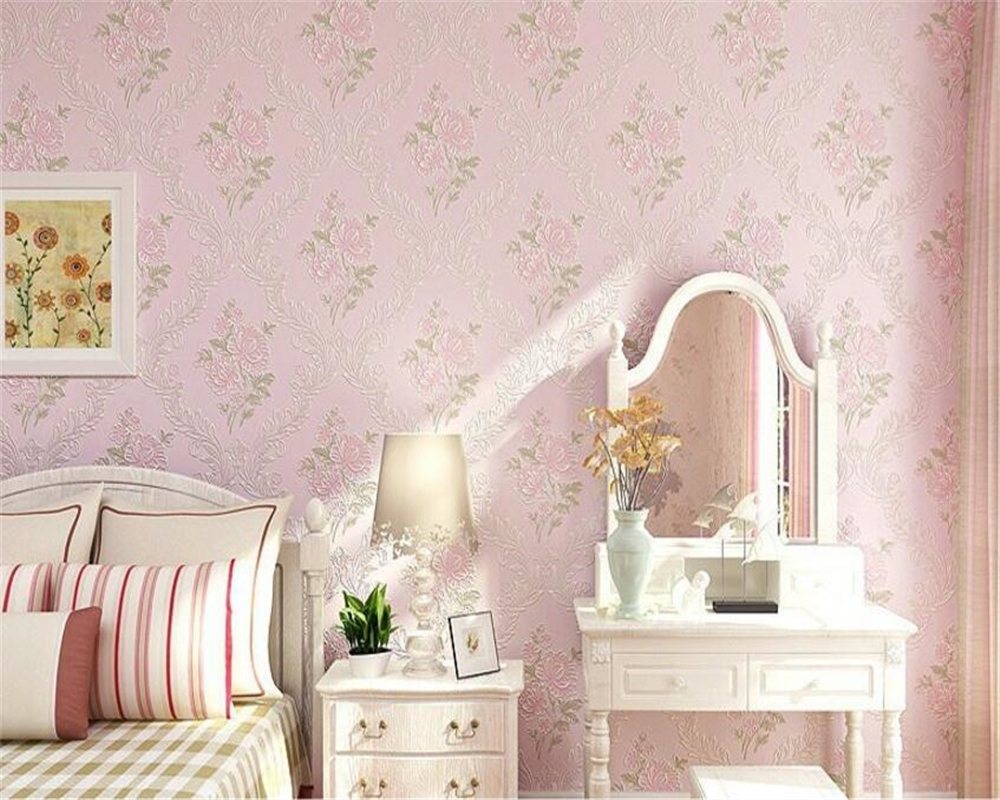 beibehang papel de parede Warm pastoral style non-woven simple European bedroom living room full of 3d wallpaper stereo behang papel de parede european style simple