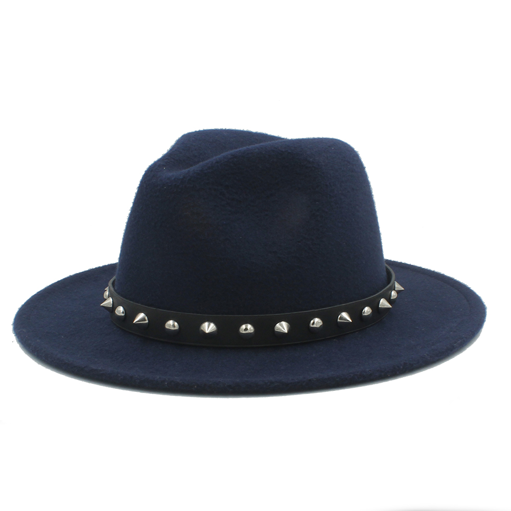dc7f2c66449a2 100% Wool Women Men Outback Fedora Hat With Wide Brim Jazz Church Godfather  Cap With Punk Rivet Ribbon Size 56 58CM-in Fedoras from Apparel Accessories  on ...