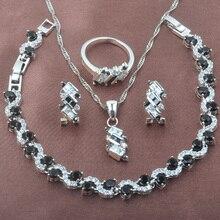 Unusual Black Zirconia 925 Sterling Silver Women's Jewelry Set Bracelet Necklace Pendant Earrings Ring YZ0546