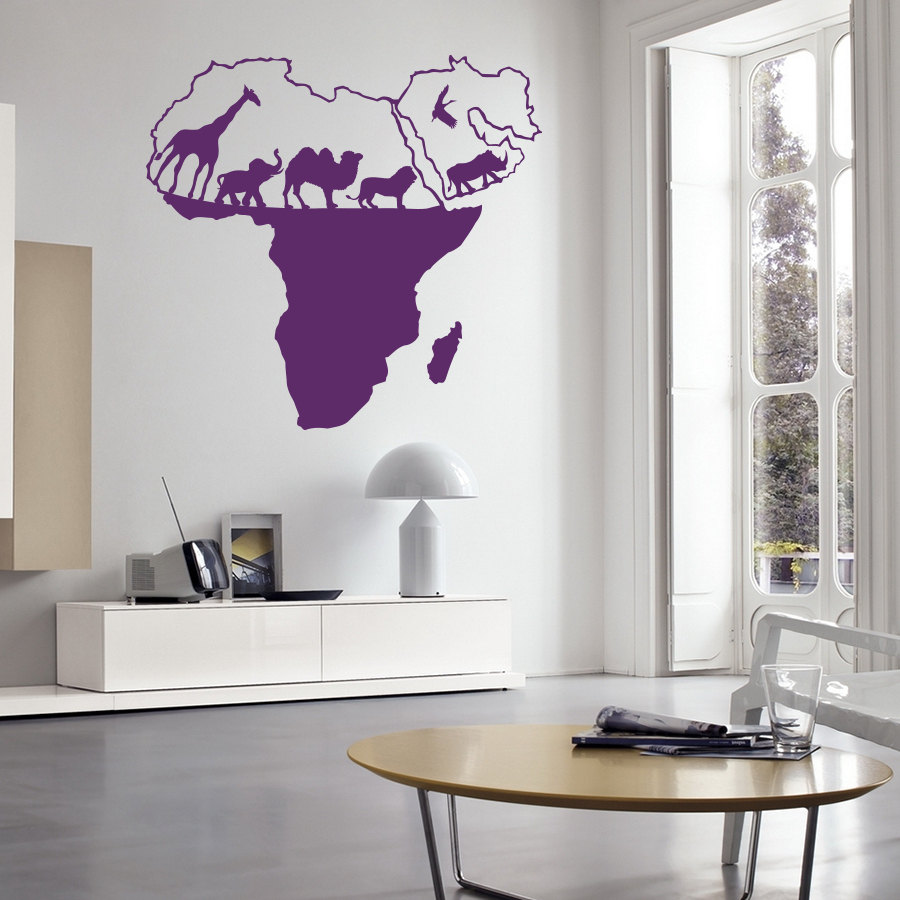 Vinyl Art Sticker Wild Nature Animal World Map Of Africa Home Decor Wall Sticker Living Bedroom Decoration Wall Mural W 56 Map Of Africa Map Of Worldmap World Aliexpress