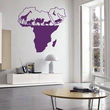 Vinyl Art Sticker Wild Nature Animal World Map of Africa  Home Decor Wall Living Bedroom Decoraton Mural W-56